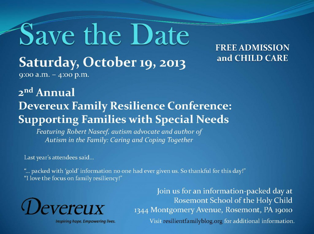 Save the Date, 2nd Annual Family Resilience Conference, OCT, 2013