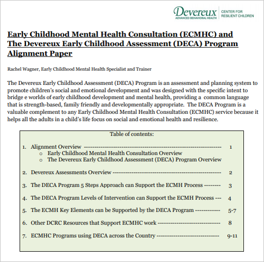 Infant Early Childhood Mental Health Consultation Devereux
